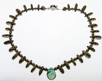 Jasper Necklace - Dalmation Jasper, Flourite, Stirling Silver