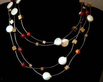 Pearl and Fire Agate Necklace - Adjustable - 3 lengths