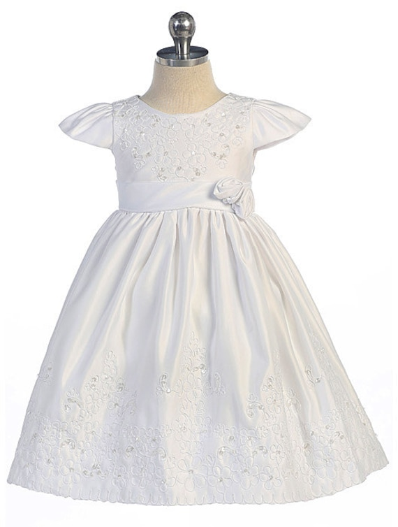 Glamulice Baby Girl Newborn Lace Christening Gown Baptism Dress Infant Satin Communion Outfit