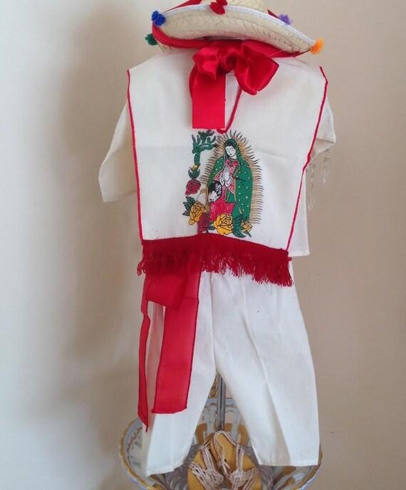 Bébé Fille Robe Blanche Baptême Bonnet Virgin Mary Guadalupe BAUTIZO cape bébé