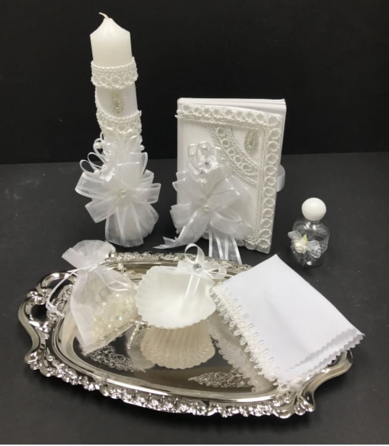 Blessing Vela Ceremony Candle BAPTISM or Communion Candle with peral  Cross Christening White Lace Confirmation