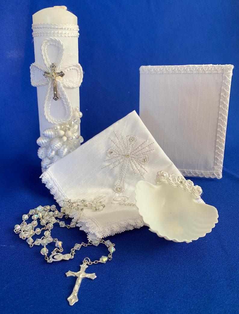 Baptism Candle Set Off White Hand Made Wooden Chest with Virgen De Guadalupe Vela Para Bautizovela Para Bautismo