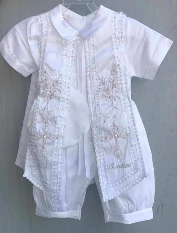 Baptism baby boy set Embroidered Baptism outfit set with hat and Sash Boy Christening set with removable Shahs and matching hat Stole