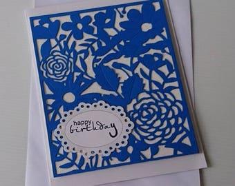 Blue Floral Birthday Card, Die Cut Cards, Greeting Cards