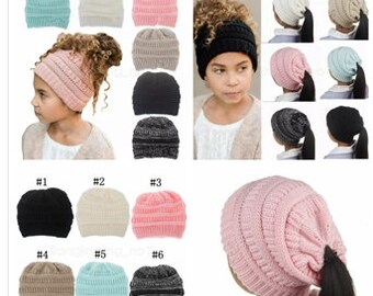 Girls ponytail hat  crochet beanie  ponytail Beanie cap  winter hat  personalized  hat  Messy Bun  knitted hat  Tween gift 0eb09f74f9c
