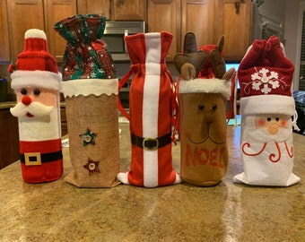 Christmas wine cover//Holiday Wine package//Wine packaging//Cute gift bags// Wine Gift Bag//Personalize