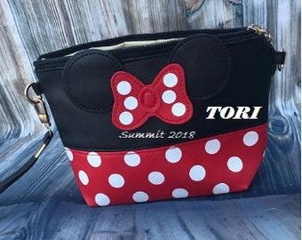 Minnie clutch//Minnie makeup bag//personalized makeup bag//personalized red polkdot