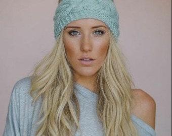 ear warmers//crochet ear wrap//ponytail ear warmers//winter hat//personalized hat//Messy Bun//CC knitted winter hat
