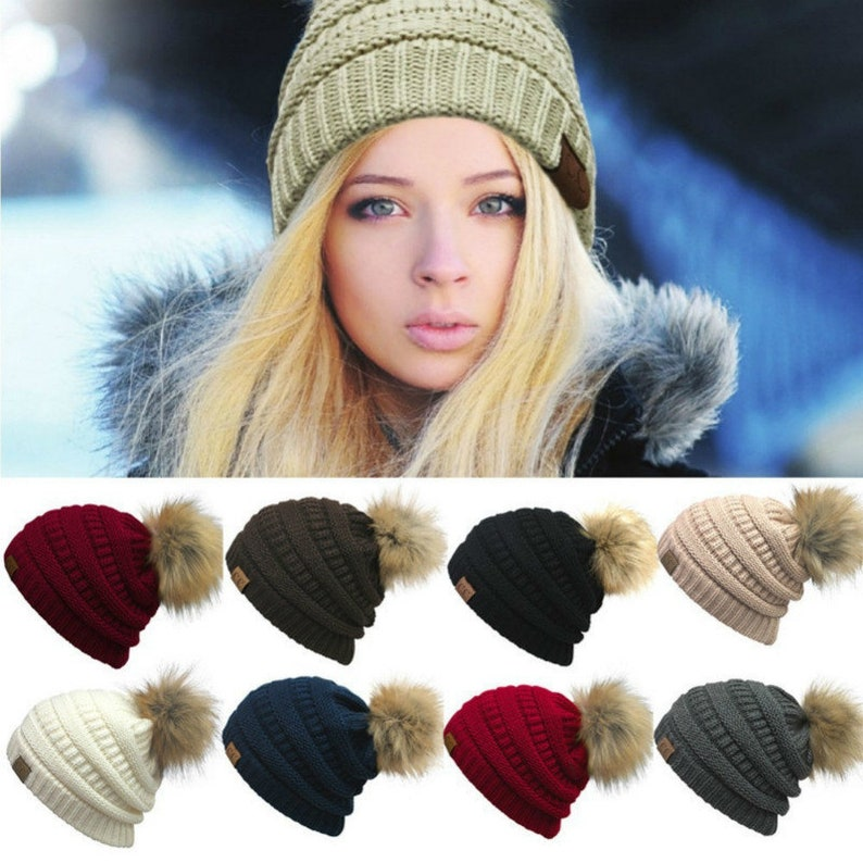 001ffe0999c CC winter Faux Fur Pom hat   Knitted fur pom hat   black pom