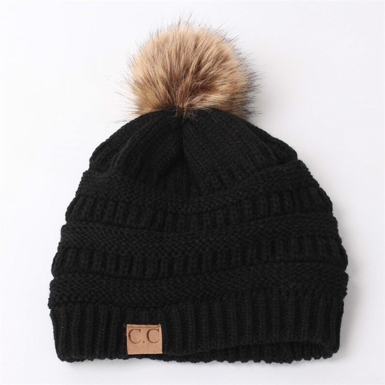 69818b76ed1 CC winter Faux Fur Pom hat  NEW release   Knitted fur pom