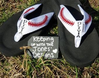 cebe36a4fb576 Persoanlized Flip Flops  Baseball Sandals  Soccer Flip Flops  Personalized  Thongs  Cute  Summer time  Baseball  Glitter