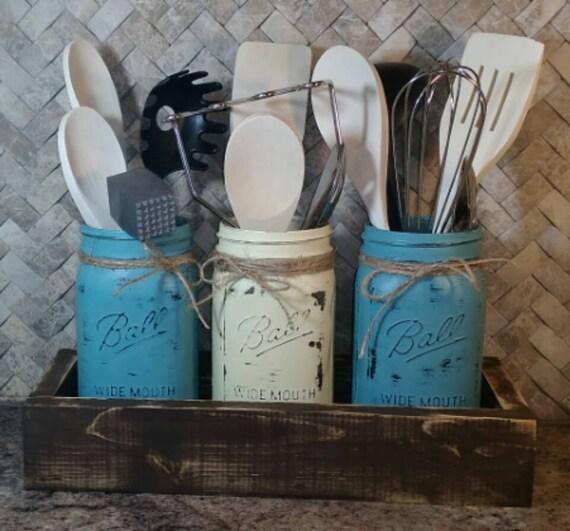 Rustic Kitchen Utensil Holder: Kitchen Utensil Holder Rustic Farmhouse Mason Jar Utensil