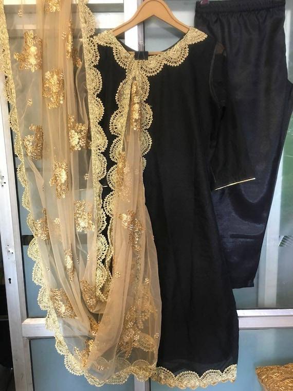 Black Salwar Kameez Suit Golden Embroidered Net Dupatta Indian Etsy