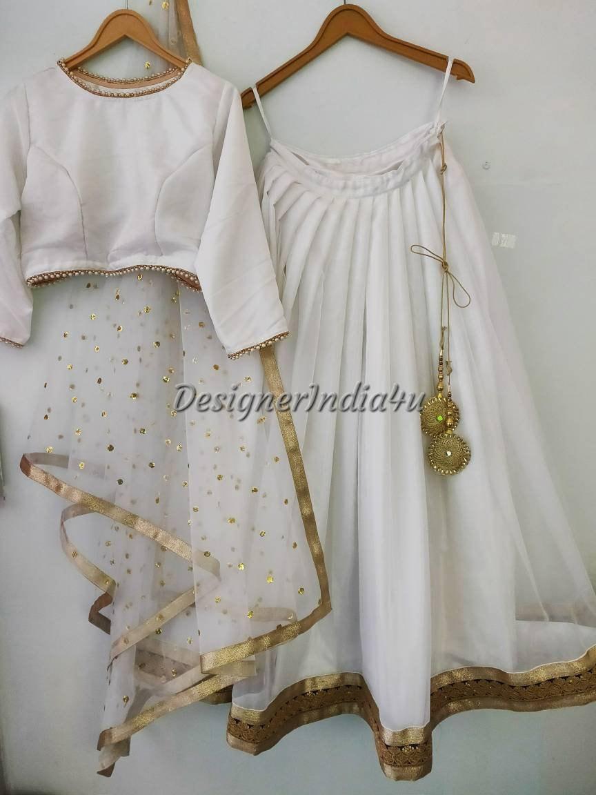 00a0b2c72a White with Gold Wedding party wear designer Lehenga choli | Etsy