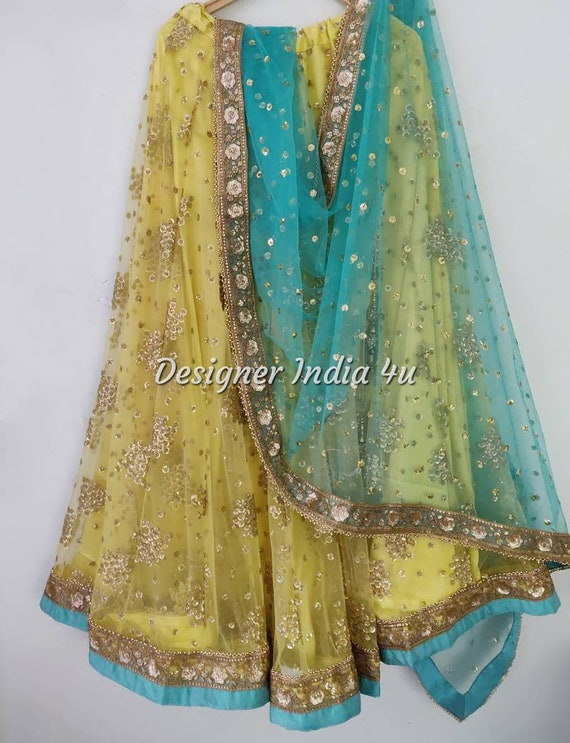 Yellow with Turquoise Green Heavy Embroidered Wedding Mehndi Party Wear  Lehenga Choli Dupatta Custom made lengha girls women made to measure