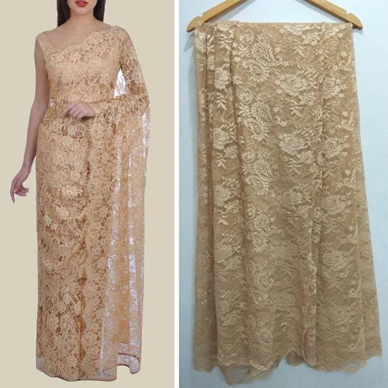 badb897d87009 Saree Blouse Indian ethnic designer Golden Beige lace net