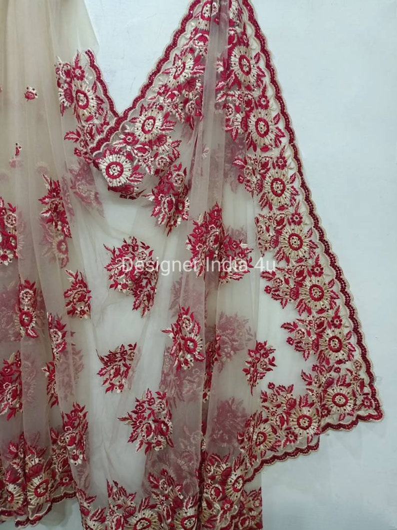 Indian Designer Golden Beige Net Saree with Stitched Blouse Thread Embroidery and stones hand work party wear sari blouse form women girls