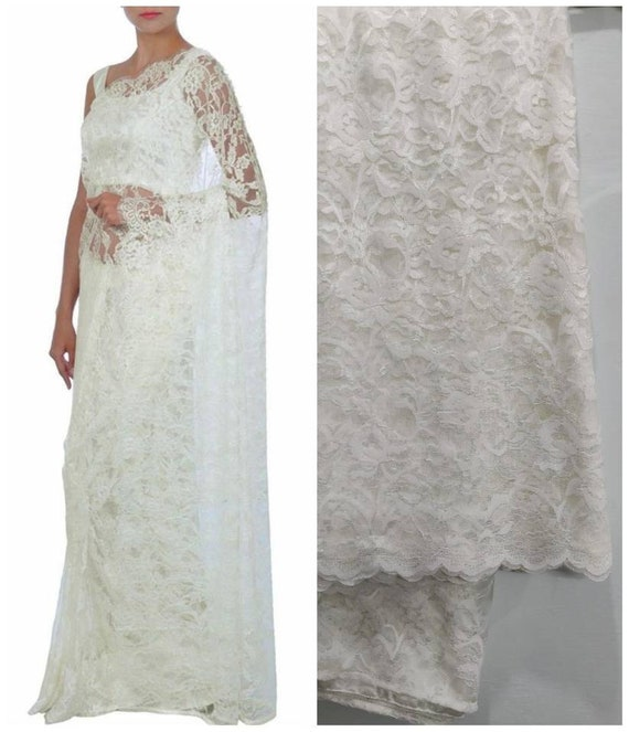 Chantilly lace saree blouse indian ethnic designer white lace aloadofball Gallery
