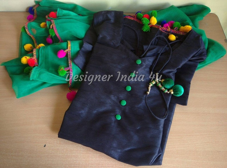 Salwar Kameez Suit Punjabi Patiala Black Silk Shalwar Kurta Pom Pom Lace  Green Net Dupatta Custom Stitched for Girls and Women