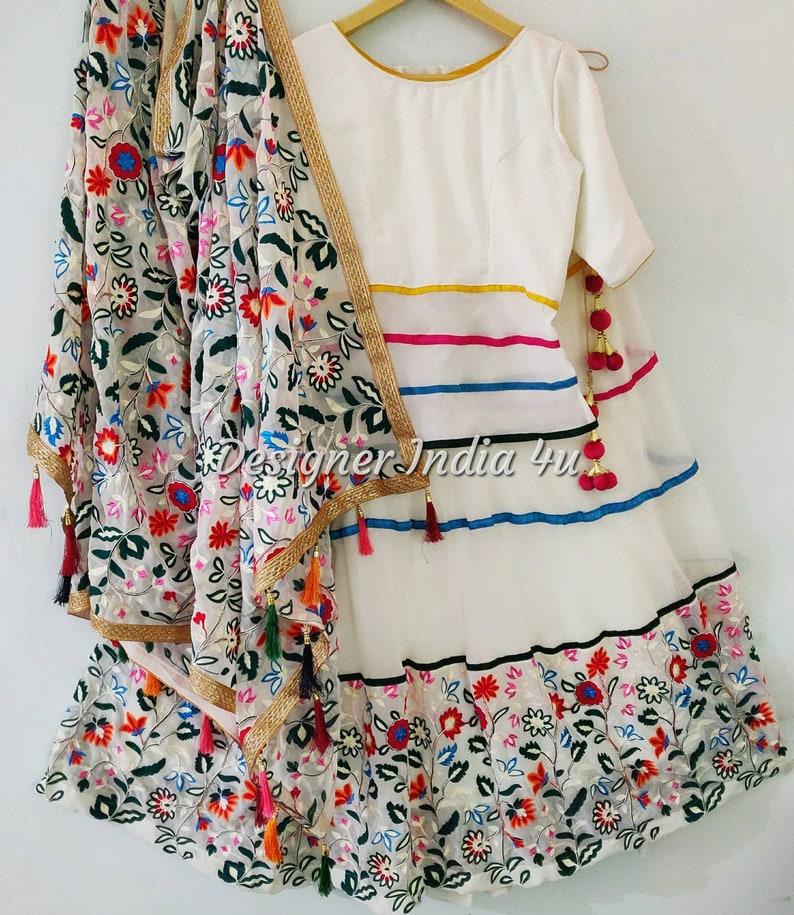 f633885651 Ivory Color Embroidered Lehenga Choli Dupatta Custom Made | Etsy
