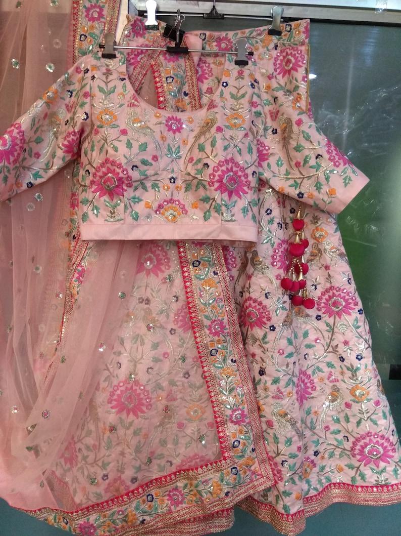 Lehenga Choli Dupatta Indian Pakistani Designer Baby Pink Etsy
