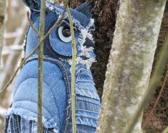 Great Horned Denim Owl, Textile Blue Horned Owl
