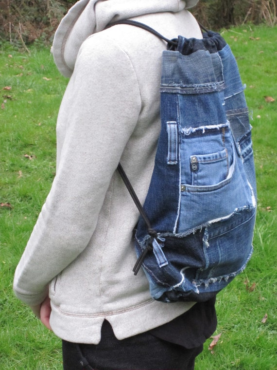 Sac à dos cordon de serrage en denim, Denim récupéré dessiner chaîne sac à dos