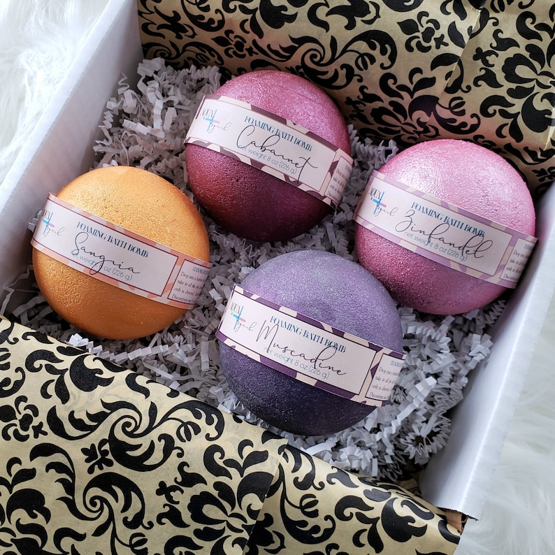 Gift for Wine Lover  Bubble Bath Bomb Gift Set  Handmade image 0
