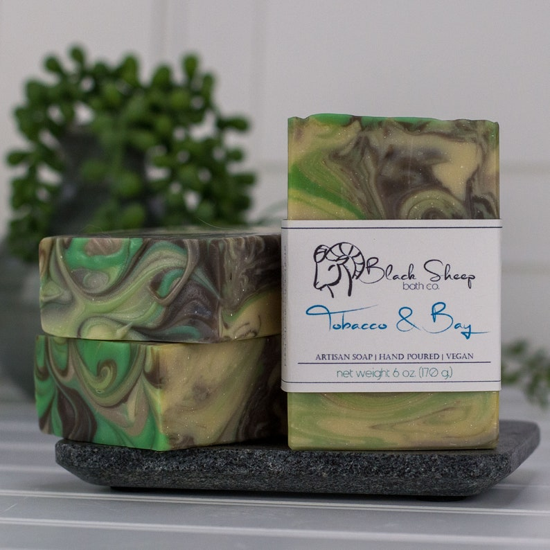 Gift for Boyfriend  Tobacco & Bay Handmade Vegan Bar Soap  image 0