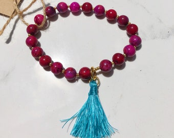 Pink Lace Agate 8mm Beaded Bracelet with Turquoise Tassel