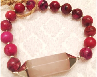 Rose Quartz & Lace Agate 8mm Beaded Bracelet .