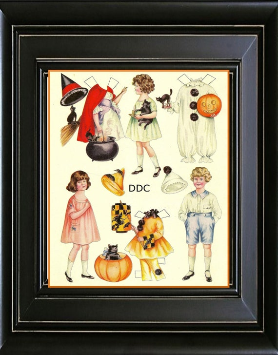 Halloween Paper Dolls Wall Art Print Decor Rustic Farmhouse | Etsy
