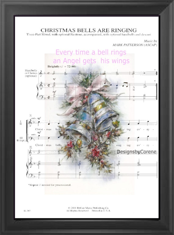 Christmas Bells Are Ringing.Christmas Bells Are Ringing Quote Sheet Music Art Print Farmhouse Wall Decor Download Printable 300 Dpi