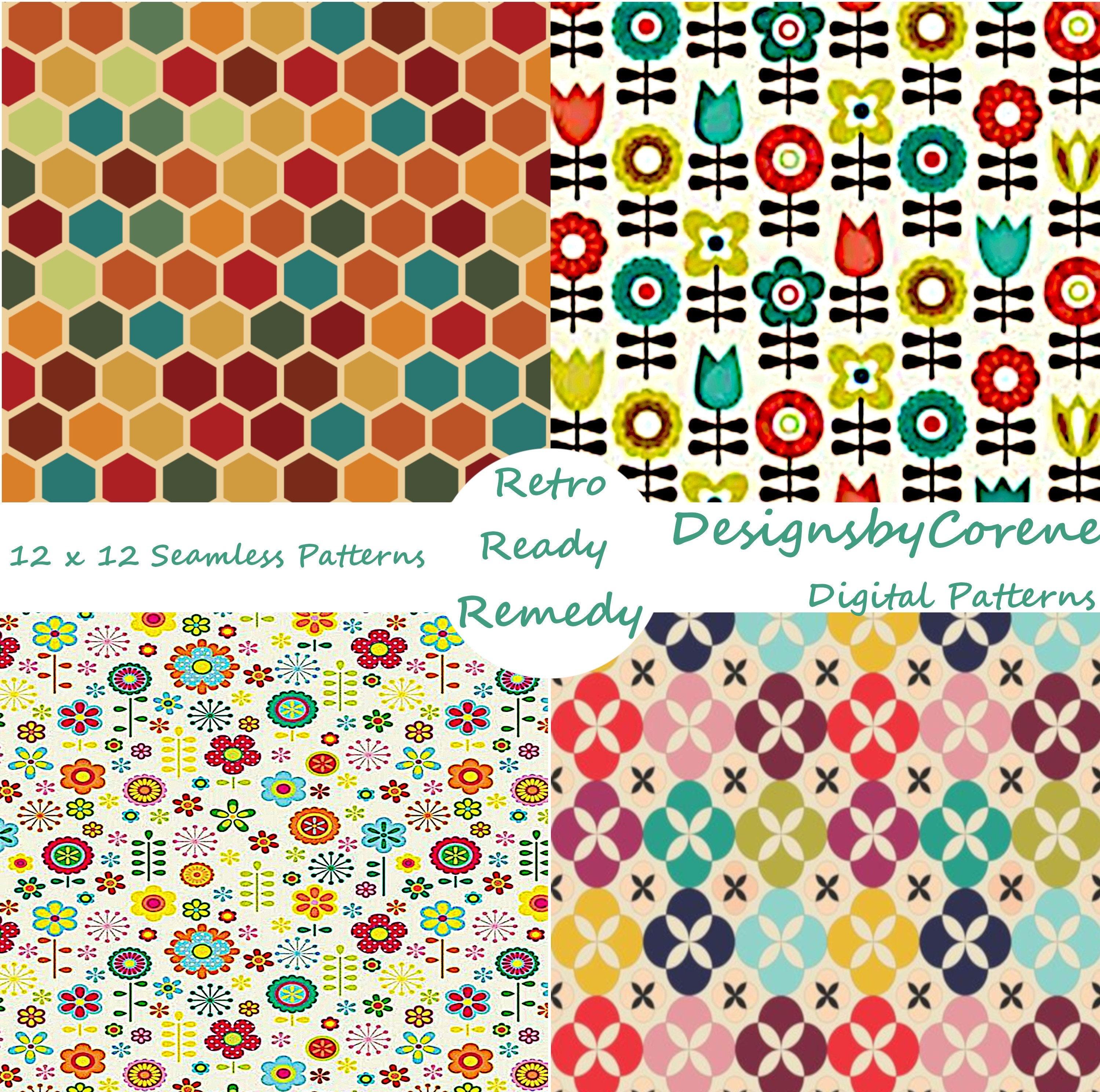 Set of Four Seamless Retro Designs Pattern Paper, Seamless Patterns,  Digital Paper, Scrapbook