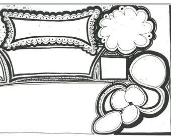 Coloring Doodle Log . Day planner. Homeschool organizer. Record and work sample folder. Keepsake