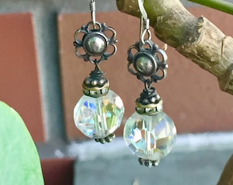 earrings: swarovski crystal and sterling silver flowers