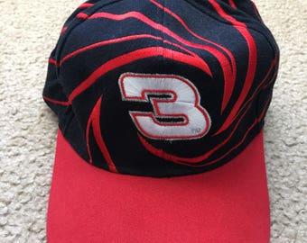 Men's Vintage 90s NASCAR Sports Image Dale Earnhardt 3 Striped SnapBack Hat