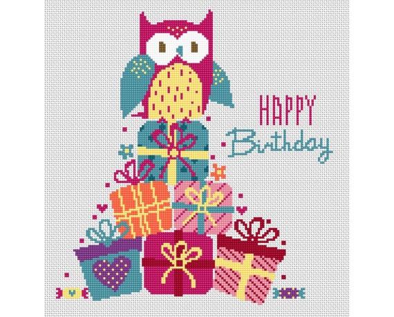 Comely Happy Birthday Owl Cross Stitch Pattern Pdf Gift Box Etsy Beauteous Funny Cross Stitch Patterns Free