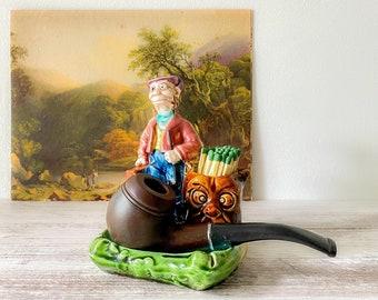 Antique Majolica Figurine Match Striker | Vintage Majolica Pottery | Quirky Matchstick Holder & Smoking Tray