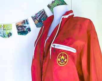 Snappy Red Boy Scout Jacket! Official Vintage 60s Nylon Windbreaker with Patches!  Adult Size: Womens Medium or Men Small