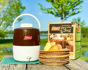 Sturdy Vintage Coleman Jug  |  60s Snow Lite w Cup & Box  |  Gift for RV Camping, Road Trips, or Fishing