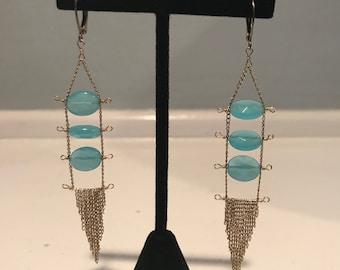 Vintage Gold & Blue Chandelier Earrings