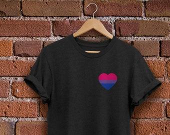 748402e8 Bisexual Pride Shirt - Bisexual Shirt - Bi Shirt - Bisexual Flag Shirt -  Bisexual Heart - Unisex Black or White Tee