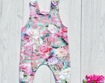 e92376842 Floral girls romper, baby gift, pink white purple flowers, summer kids  clothes, bright colours dungarees