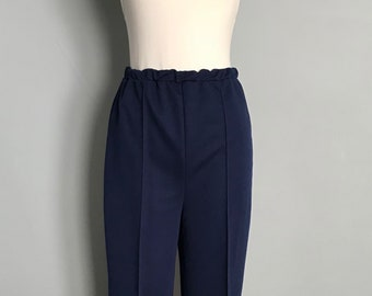 Vintage Navy Blue Polyester Pants