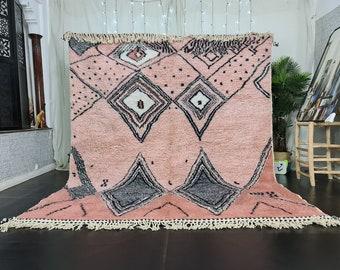 BERBER MOROCCAN RUG Custom Geometric Beni Ourain Rug - Scandinavian Area Pink Rug - Salmon Wool Carpet- Handmade Wool Rug Bohemian Diamond