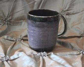 Hand-thrown Ceramic Mug Pottery green and blue