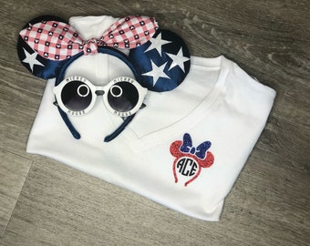 Personalized Disney-inspired Patriotic/Memorial Day/4th of July/Red, White, and Blue Mouse Headband-Shaped Monogram Tank or Tee