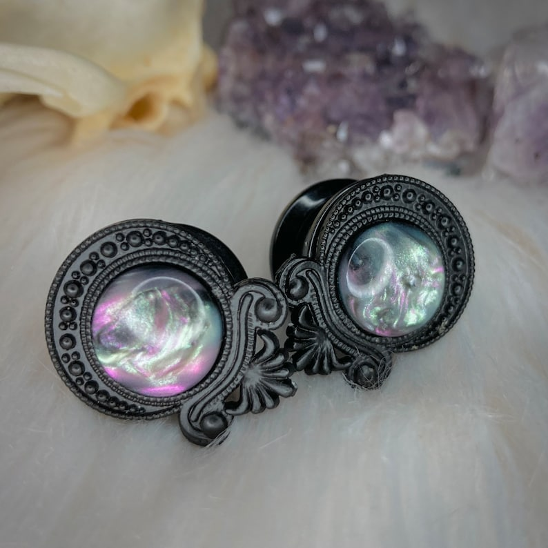 Goth ear plugs  gauges black setting with nebula  northern light bead Witchy stretchers 8mm, 10mm, 12mm, 14mm, 16mm