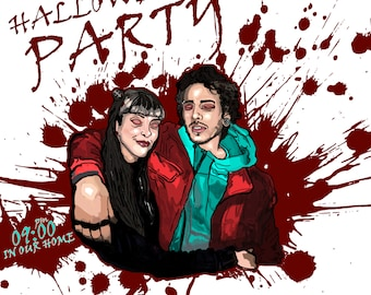 Halloween Party Card, Invatition Card, Wedding Invatition, Custom Party Card, Illustration Party Card
